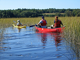 Students Canoeing to Swan Island