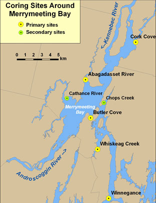 Map showing coring sites around Merrymeeting Bay